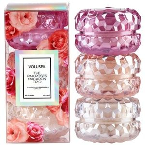 Voluspa Pink Roses Macarons Trio Candles